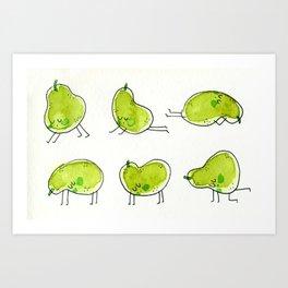 Pears doing yoga Art Print