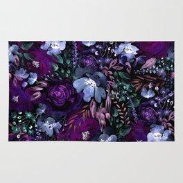 Deep Floral Chaos blue & violet Rug