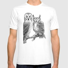 Bubo and Strix MEDIUM White Mens Fitted Tee