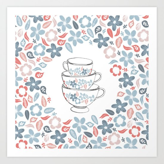A bunch of flowers is just my cup of tea Art Print