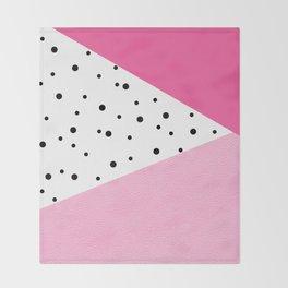 Black dots & pink leader Throw Blanket