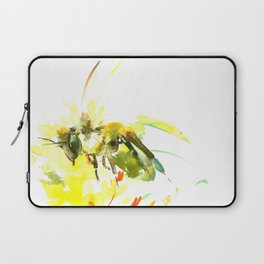 Honey Bee and Yellow Abstrac floral decor Laptop Sleeve