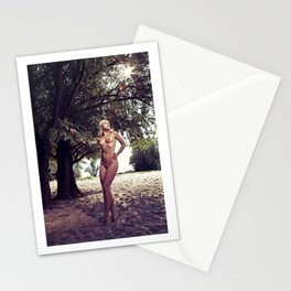 Nude woman standing under a tree Stationery Cards