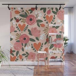 Seamless Pink Pastel Floral Pattern Salmon Red Orange Wall Mural