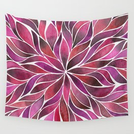 Floral Vines - Ruby Red Wall Tapestry