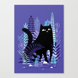 The Ferns (Black Cat Version) Canvas Print