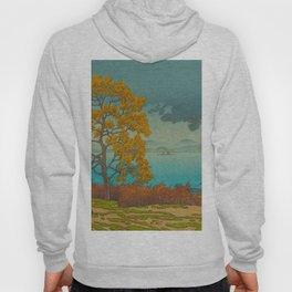 Vintage Japanese Woodblock Print Autumn Japanese Landscape Field Tall Tree Hoody