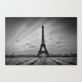 Eiffel Tower at Sunrise | Monochrome Canvas Print