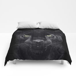 Panther on black Comforters