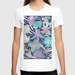 Silver Purple Blue Floral Leaves Illustrations T-shirt