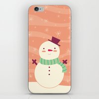 snowman iPhone & iPod Skins featuring Snowman by Claire Lordon
