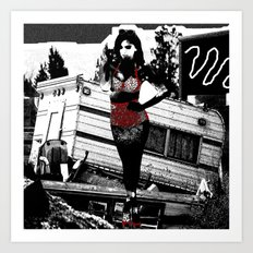 Ornamental Pinup in Black, White, and Red Art Print