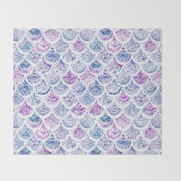 OCEAN PROTECTRESS Lavender Mermaid Scales Throw Blanket