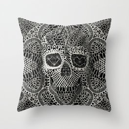 Lace Skull Throw Pillow