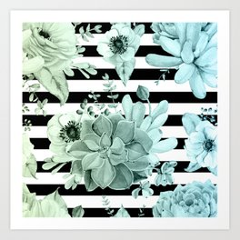 Succulents in the Garden Teal Blue Green Gradient with Black Stripes Art Print