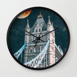 Blood Moon over London, England Tower Bridge Wall Clock