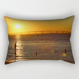 Golden Sunset on Jersey Shore Rectangular Pillow