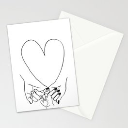 Parent Pinky Promise Family Line Art Mother Father Baby Stationery Cards