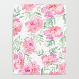Watercolor Peonie with greenery Poster