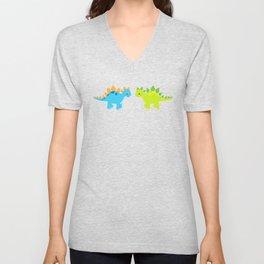 Cute Dinosaur Nursery Illustration – Green and Blue stegosaurus Unisex V-Neck
