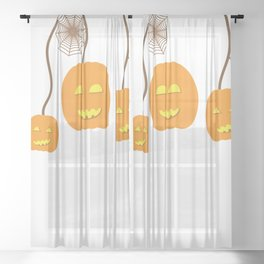 Pumpkins and Spider webs Sheer Curtain