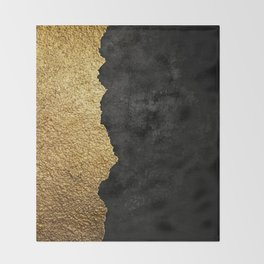 Gold torn & black grunge Throw Blanket