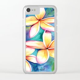 Blooming Plumeria 5 Clear iPhone Case