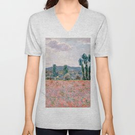 Poppy Field in Giverny by Claude Monet Unisex V-Neck