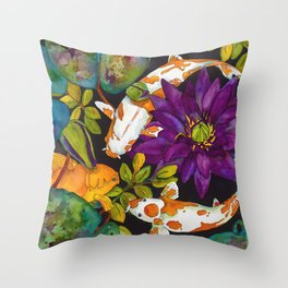 Purple Lily and Koi Throw Pillow