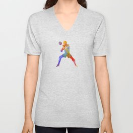 Volley ball player man 02 in watercolor Unisex V-Neck