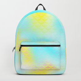 Cyan Blue and Yellow Mermaid Tail Abstraction. Magic Fish Scale Pattern Backpack