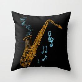 Saxophone Player Musician Jazz Music Art Throw Pillow