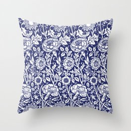 "William Morris Floral Pattern | ""Pink and Rose"" in Navy Blue and White Throw Pillow"