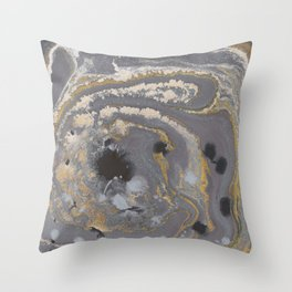 Fluid Gold Concrete Throw Pillow