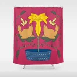Seal Flower Folk Art Shower Curtain