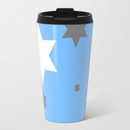SIMPLY GREY & WHITE STARS ON BABY BLUE DESIGN Travel Mug