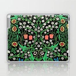 William Morris Jacobean Floral, Black Background Laptop & iPad Skin