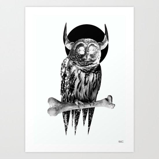 Owl in white Art Print
