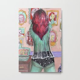 alien babe and skulls Metal Print