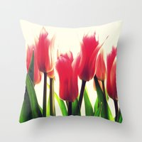 tulips Throw Pillows featuring Tulips by 2sweet4words Designs