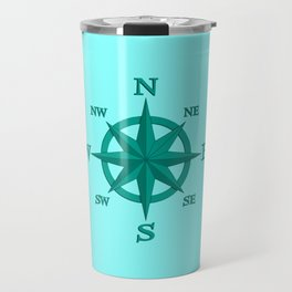 Eight Point Compass Rose, Turquoise and Aqua Travel Mug