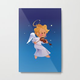 Cute Christmas  baby angel playing violin Metal Print