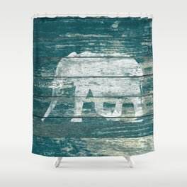 Elephant Silhouette on Blue Wood A215B Shower Curtain