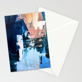 On the Dock: a pretty abstract design in blues and pinks by Alyssa Hamilton Art Stationery Cards