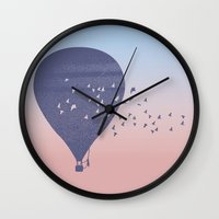 hot air balloon Wall Clocks featuring Hot Air Balloon (P) by HeyAle!