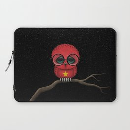 Baby Owl with Glasses and Vietnamese Flag Laptop Sleeve