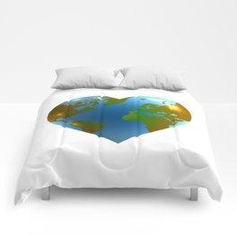 Globe in the shape of heart Comforters