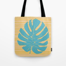 Monstera in Turquoise and Gold Tote Bag