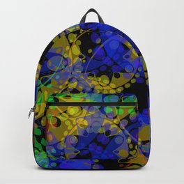Multicolored delicate pastel blue circles and yellow ellipses depicting abstract ornamental green fl Backpack
