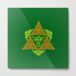 GREEN ZELDA TRIFORCE Metal Print